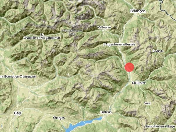 Localisation du hameau des Guions dans les Hautes-Alpes