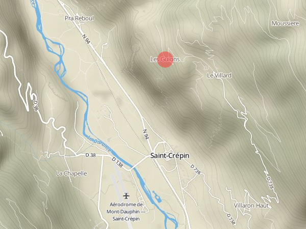 Localisation du hameau des Guions près de Saint-Crépin